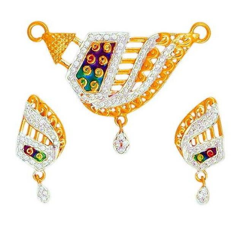 22K/916 Gold Fancy CZ Colorful Mangalsutra Pendant Set