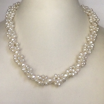 Fresh water white twisted rassi necklace