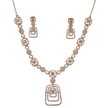 925 Rose Silver Designer Necklace Set MGA - NKS0105