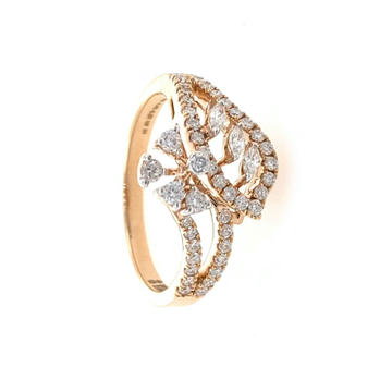 Divan Flower & Leaf Pattern Diamond Ladies Ring in 18k Rose Gold 0LR23