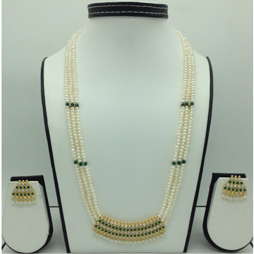 GreenCZ and PearlsPendent Set With FlatPearls M...