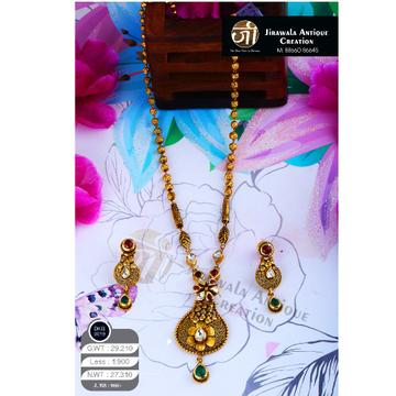 916 Gold Antique Jadtar Long Necklace Set DKG-0019