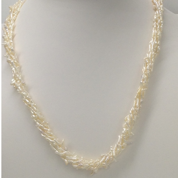 Sea water keshi rice white pearls necklace 6 layers