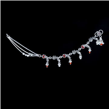 Silver Fancy Red Stone Payal by MSK Jewel Art Private Limited