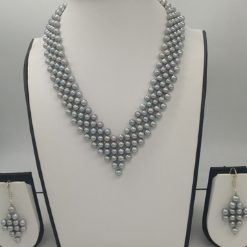"Freshwater Grey Round Pearls ""V"" Jaali Necklace Set JPP1030"