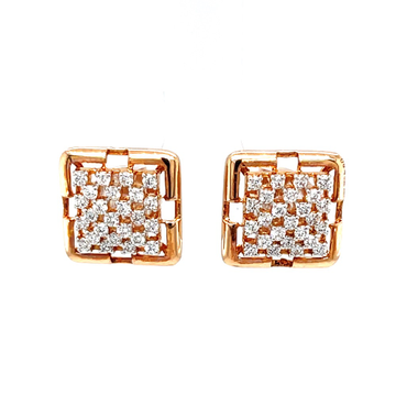 Pyramid dome diamond stud earring in 18k rose gold...