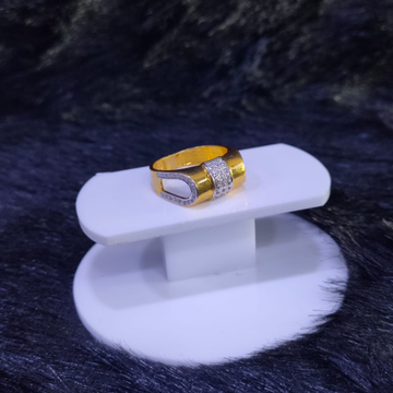 22KT/916 Yellow Gold Business magnate U Shape Cz Fancy Ring For Men