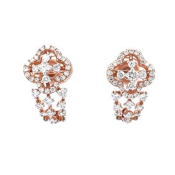 Charmant diamond bali in 18k rose gold in prong se...