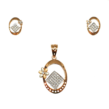 18K Rose Gold Oval shaped Modern Pendant Set MGA - PTG0129