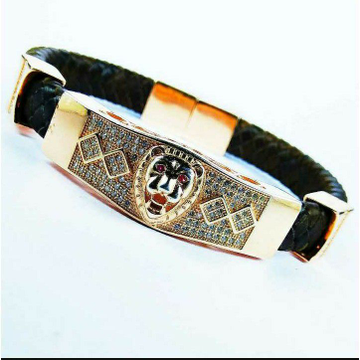 Fancy 925 Silver Gents Leather Bracelet With Lion Face