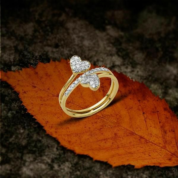 22 KT / 916 Gold fancy double heart ring for ladie... by