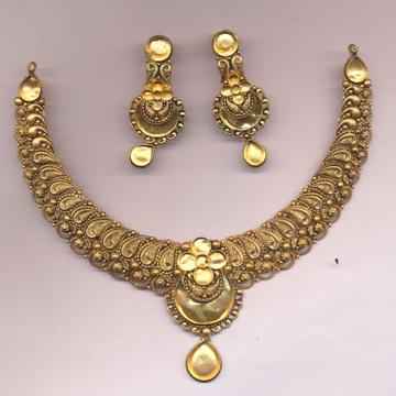 22KT Gold Antique Khokha Necklace Set PJ-N008