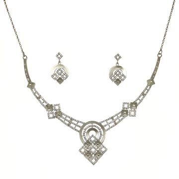 925 Sterling Silver Square Shaped Modern Necklace Set MGA - NKS0100
