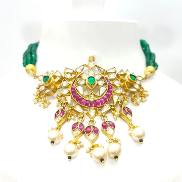 Gold plated with choker kundan work Traditional and emerald and ruby stone set 1584
