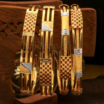 916 Hallmark Gold Traditional Bangle  by Saideep Jewels