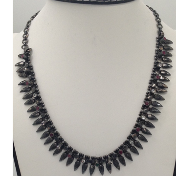 Silver 925 Oxidised Necklace with White CZ and Ruby Stones JNC0017