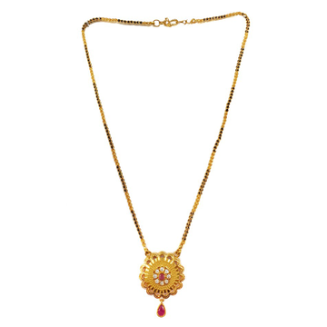 One Gram Gold Forming Single Line Mangalsutra MGA - MSE0029