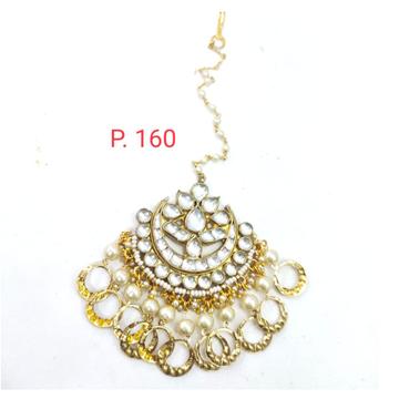 Bridal Gold plated kundan Mang Tikka with Beads 1631