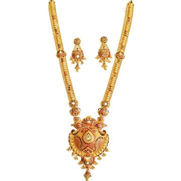 22k Gold Designer Long Necklace Set MGA - GLS020