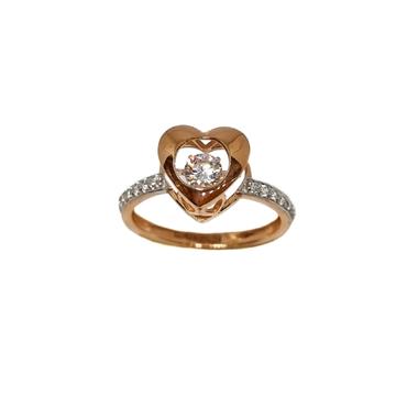 18K Rose Gold Heart Shape Movable Diamond Ring MGA...