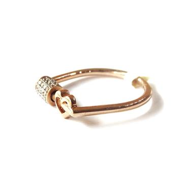 18k rose gold heart shape spinner ring mga - rgr0022