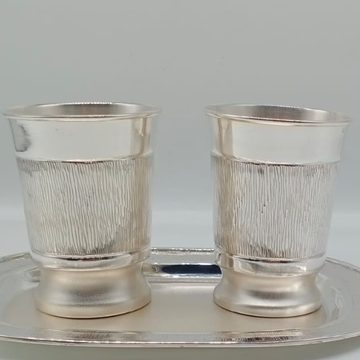 Silver Plain Design Hallmark Glass & Tray by