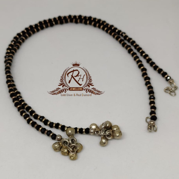 silver black pearls payal RH-PL878