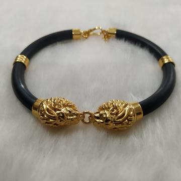 916 Gold Fancy Lion Face Rubber Belt