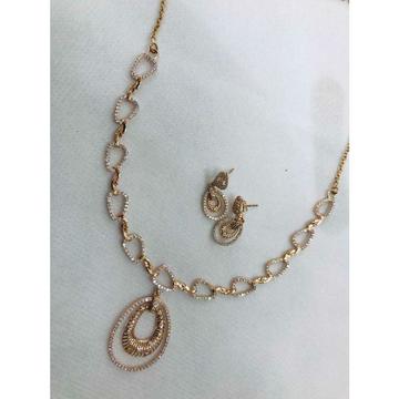 92.5 Sterling Silver Fantastic Look Rose Gold Necklace Set Ms-2790
