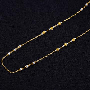 Ladies White Moti Delicate 916 Gold Mala-AC108
