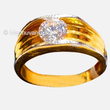 22K Plain Gold Diamond Gents Ring