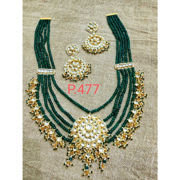 Green Pachi Kundan Long Layered Necklace#1062