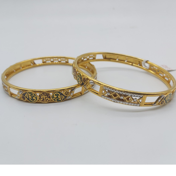 Gold fancy Bangles in light weight by