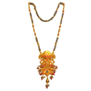 22k gold kalkatti meenakari flower shape mangalsutra mga - gm014