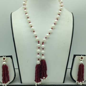 Freshwater White FlatPearls with Red Beeds Tussle...
