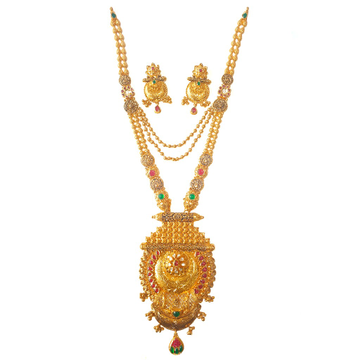 22K Gold Antique Necklace With Earrings MGA - GLS0...