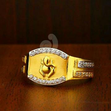 22ct Ganpati Design Cz Gents Ring