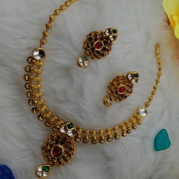 22KT Gold Hallmark Party Wear Necklace Set  by Ranka Jewellers