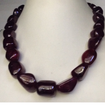 Natural Red Ruby Glass Filled Oval Tumbles Graded Mala