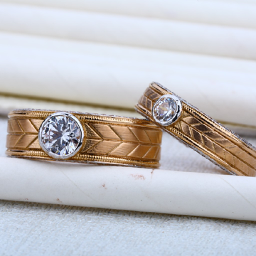 Mens Rose Gold 18K Fancy Engagement RING-RCR09