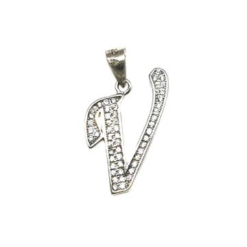 925 Sterling Silver Alphabet (Letter V) Pendant MGA - PDS0046