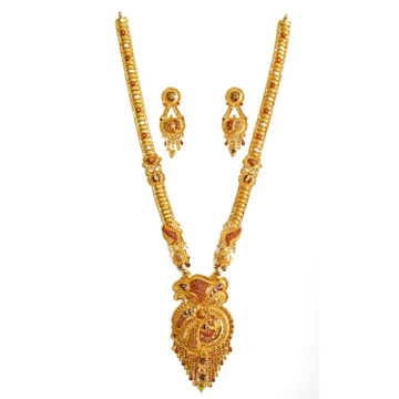22k Gold Kalkatti Designer Long Necklace Set MGA - GLS042