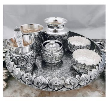 925 Pure Silver Arta Thali Set in Morr Pankh Nakas...