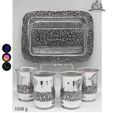 silver try and four glass set RH-BS586
