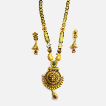 916 Gold Antique Bridal Long Necklace Set RHJ-4778
