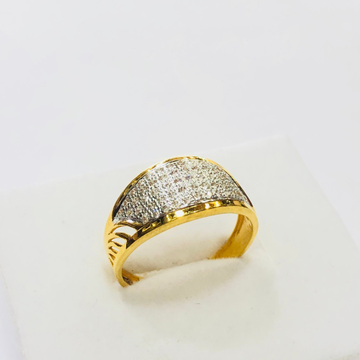 22kt, 916 Hm, Yellow Gold plain american diamonds Ring For Men Jkr225