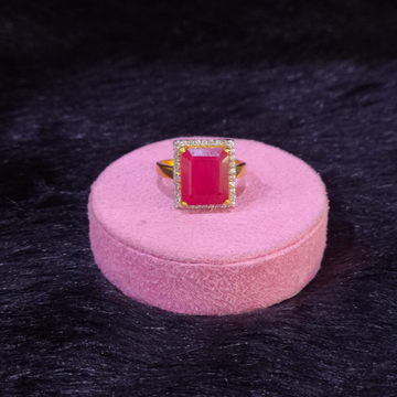 22KT/916 Yellow Gold Cz Fancy Ruby Stone Ring For Women
