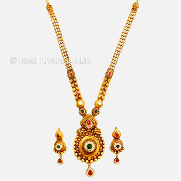 22K Gold Atractive Long Necklace With Earrings