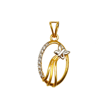 22K Gold Oval Shaped Butterfly Pendant MGA - PDG1184