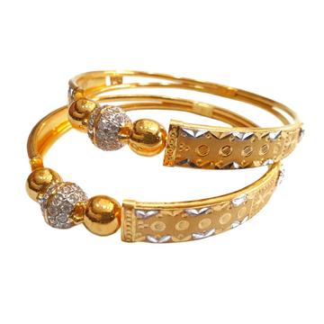 22K Gold Modern Kadli Bangles MGA - GK0079